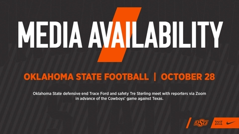 Thumbnail for entry 10/29/20 Cowboy Football: Trace Ford and Tre Sterling Speak to the Media