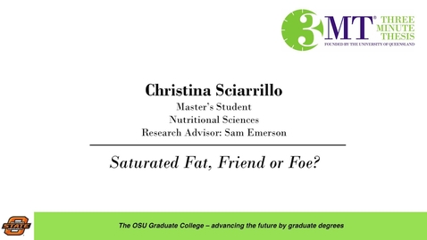 Thumbnail for entry 2018 3 Minute Thesis Finals: Christina Sciarrillo