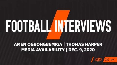 Thumbnail for entry FOOTBALL: OSU Cowboy Football Players Amen Ogbongbemiga and Thomas Harper Address the Media