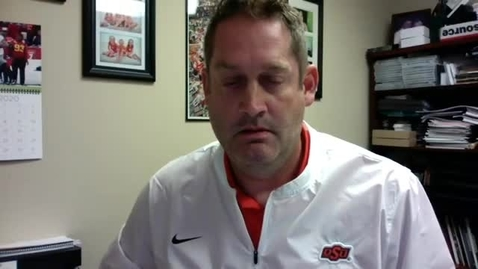 Thumbnail for entry 10/7/20 Cowgirl Soccer: OSU Cowgirl Head Coach Colin Carmichael and Players Grace Dennis and Grace Yochum Address the Media.