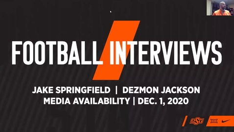Thumbnail for entry 12/2/20 Cowboy Football: Players Dezmon Jackson and Jake Springfield Speak to the Media