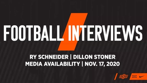 Thumbnail for entry 11/18/20 Cowboy Football: Ry Schneider and Dillon Stoner Speak to the Media