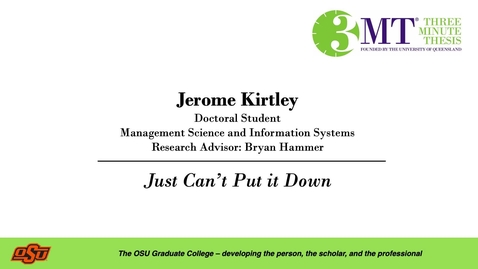 Thumbnail for entry Jerome Kirtley: 3MT Graduate College
