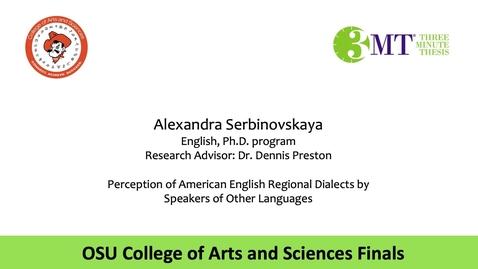 Thumbnail for entry Alexandra Serbinovskaya: CAS 3MT Graduate Finals