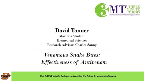 Thumbnail for entry 2018 3 Minute Thesis Finals: David Tanner
