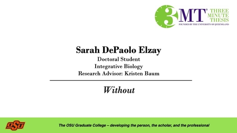 Thumbnail for entry Sarah DePaolo Elzay: 3MT Graduate College
