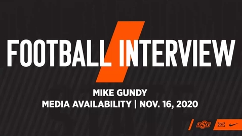 Thumbnail for entry FOOTBALL: Mike Gundy Previews Phillips 66 Bedlam Series matchup with Oklahoma.