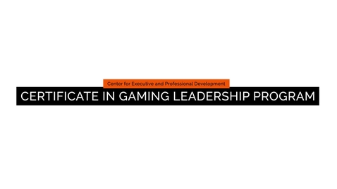Thumbnail for entry CEPD: Certificate in Gaming Leadership Program