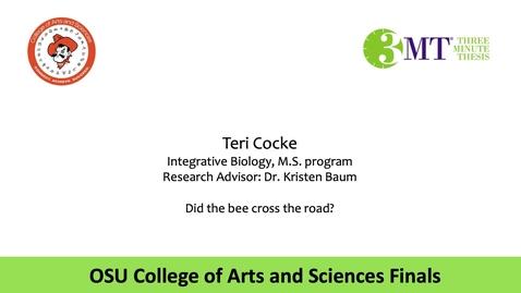 Thumbnail for entry Teri Cocke: CAS 3MT Graduate Finals