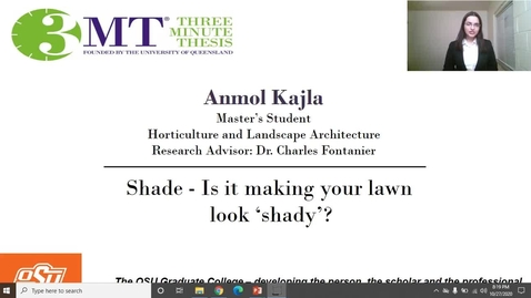 Thumbnail for entry Anmol Kajla 3MT: SHADE- Is it making your lawn look 'shady'