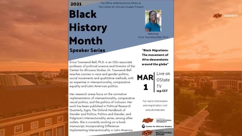 Thumbnail for entry REBROADCAST:  Black History Month Speakers Series--Black Migrations:  The Movement of Afro-Descendants Around the Globe 23