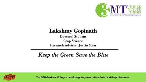 Thumbnail for entry Lakshmy Gopinath: 3MT Graduate College