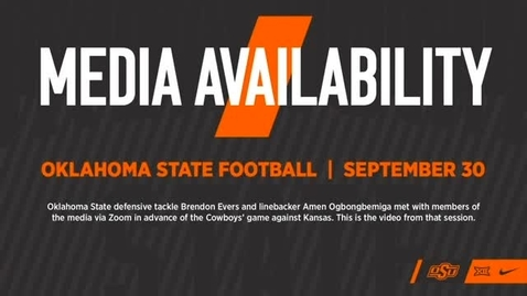 Thumbnail for entry FOOTBALL: OSU Cowboy Players Brendon Evers and Amen Ogbongbemiga Address the Media