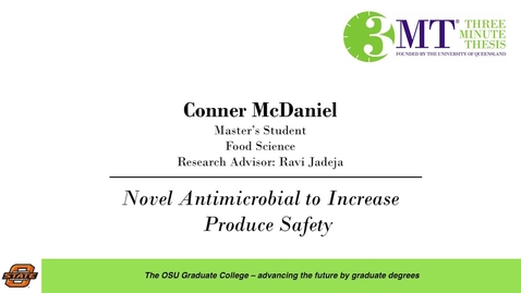Thumbnail for entry 2018 3 Minute Thesis Finals: Conner McDaniel