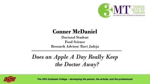 Thumbnail for entry Conner McDaniel: 3MT Graduate College