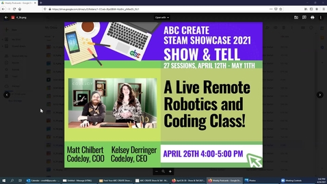 Thumbnail for entry 4-26-2021 Robot Relaxation - A Live Remote Robotics and Coding Class! - ABC CREATE Show & Tell