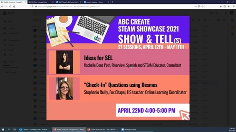 """Thumbnail for entry 4-22-2021 Ideas for SEL + Easy and Fun """"Check-In"""" Questions to Start your Online/Hybrid Class Using Desmos - ABC CREATE Show & Tell"""
