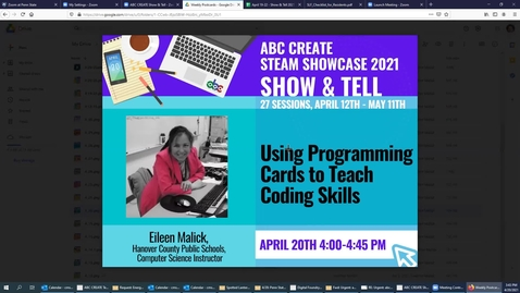 Thumbnail for entry 4-20-2021 Using Programming Cards to Teach Coding Skills for a Practical Exam and Project - ABC CREATE Show & Tell