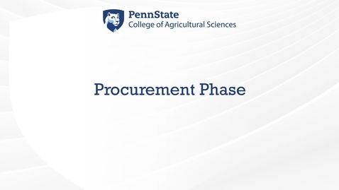 Thumbnail for entry Procurement Phase