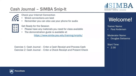 Thumbnail for entry SIMBA Snip-it: Cash Journal Overview