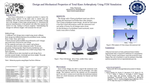 Thumbnail for entry Design and Mechanical Properties of Total Knee Arthroplasty (TKA) using FEM Simulation