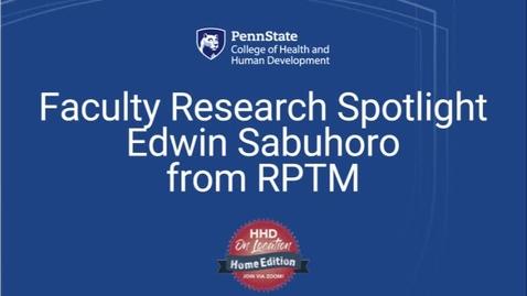 Thumbnail for entry Faculty Research Spotlight Edwin Sabuhoro from RPTM