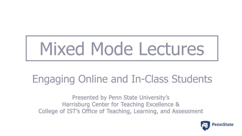 Thumbnail for entry Mixed Mode Lectures