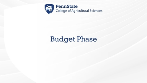 Thumbnail for entry Budget Phase