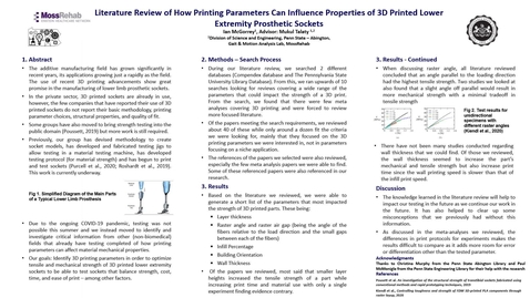Thumbnail for entry Literature Review of How Printing Parameters Can Influence Properties of 3D Printed Lower Extremity Prosthetic Sockets