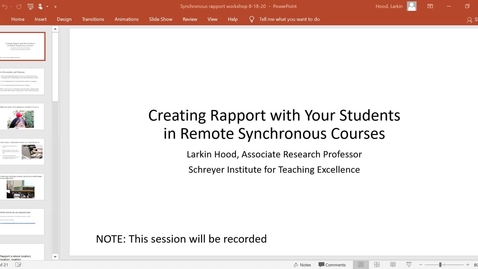 Thumbnail for entry Creating Rapport with Your Students in Remote Synchronous Courses: Keep Teaching Webinar Series