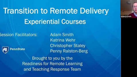 Thumbnail for entry Remote Teaching: Experiential Courses
