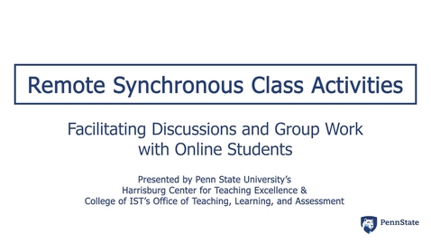 Thumbnail for entry Remote Synchronous Class Activities