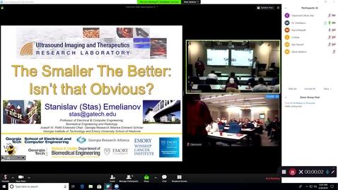 """Thumbnail for entry CAV Seminar - 03/20/19 - Dr. Stanislav Emelianov """"The Smaller the Better: Isn't that Obvious?"""""""
