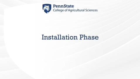 Thumbnail for entry Installation Phase