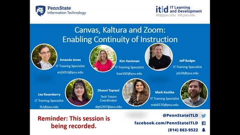 Thumbnail for entry Canvas, Kaltura and Zoom: Enabling Continuity of Instruction