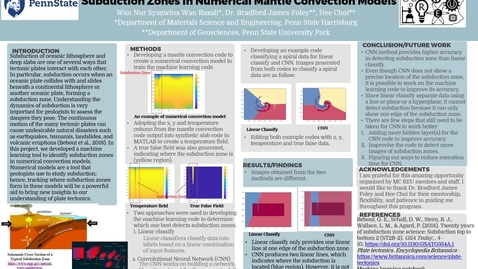Thumbnail for entry Developing a Machine Learning Tool for Identifying  Subduction Zones in Numerical Mantle Convection Models