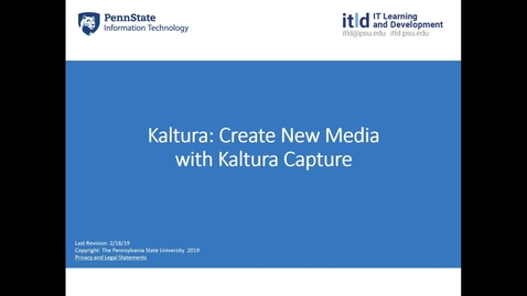 Thumbnail for entry Kaltura: How to Create New Media with Kaltura Capture