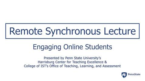 Thumbnail for entry Remote Synchronous Lecture