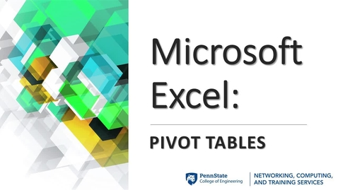 Thumbnail for entry Microsoft Excel_Pivot Tables