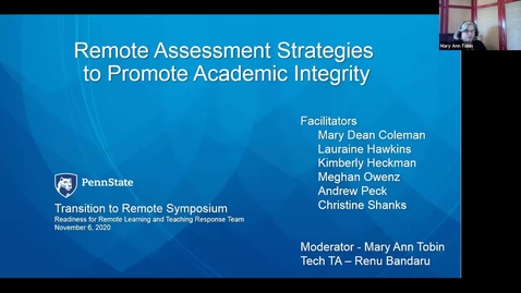 Thumbnail for entry Remote Assessment Strategies to Promote Academic Integrity