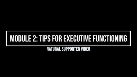 Thumbnail for entry Module 2: Tips for Executive Functioning - Natural Supporter