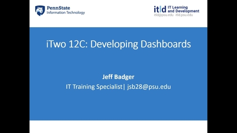 Thumbnail for entry iTwo 12C: Developing Dashboards