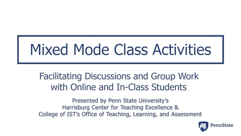 Thumbnail for entry Mixed Mode Class Activities