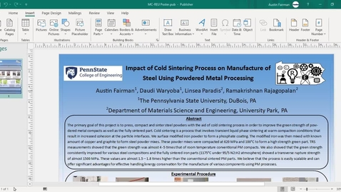 Thumbnail for entry Impact of Cold Sintering Process on Manufacture of Steel Using Powdered Metal Processing