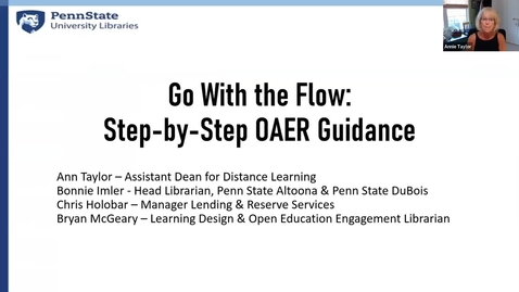 Thumbnail for entry Go with the Flow: Step-by-Step OAER Guidance: Keep Teaching Webinar Series
