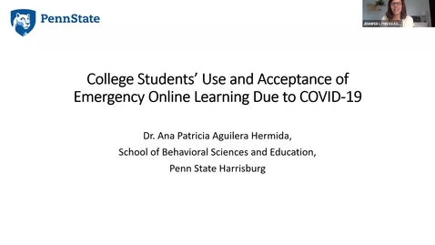 Thumbnail for entry College Students' Use and Acceptance of Emergency Online Learning Due to COVID-19: Keep Teaching Webinar Series