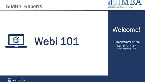 Thumbnail for entry SIMBA Reporting - Webi 101