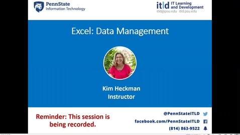 Thumbnail for entry Excel: Data Management