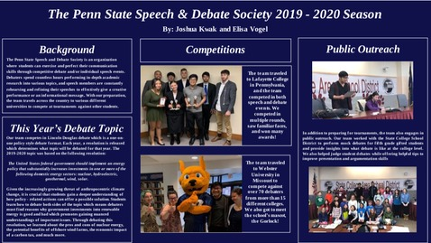 Thumbnail for entry Josh Kwak and Elisa Vogel: Penn State Speech and Debate Society