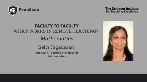 Thumbnail for entry Faculty to Faculty: What Works in Remote Teaching?[Mathematics]